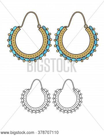 Handmade Jewelry In Ethnic Style: Round Earrings With Beads. Vector Illustration Isolated On A White