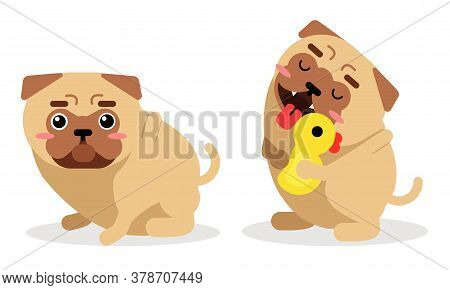 Cute Pug Hanging Out Tongue And Sitting Vector Set