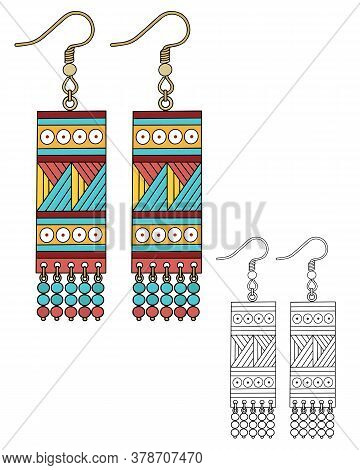 Bright Colorful Rectangular Shaped Earrings. Handmade In The Style Of Boho. Vector Illustration Isol