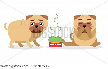 Cute Pug Sitting And Eating Hot Food Vector Set