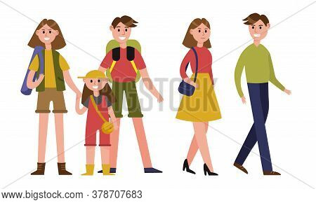 Man And Woman Parents Spending Time Together With Their Children Vector Illustration Set