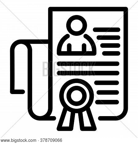 Diploma Personal Information Icon. Outline Diploma Personal Information Vector Icon For Web Design I