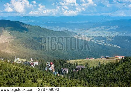 Beautiful Scenic View Of Mountain Village In Summer Carpathians