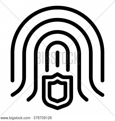 Fingerprint Secured Personal Information Icon. Outline Fingerprint Secured Personal Information Vect