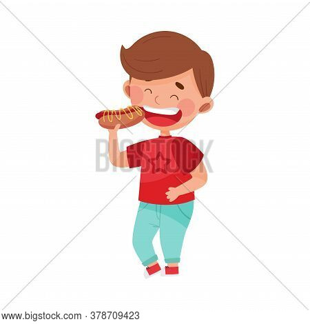 Little Boy Character Showing Like Towards Hot Dog Vector Illustration