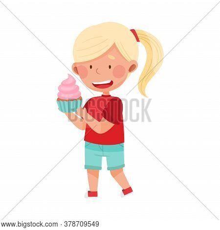Happy Girl Character Showing Like Towards Cupcake Vector Illustration