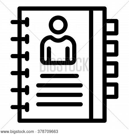 Personal Notebook Icon. Outline Personal Notebook Vector Icon For Web Design Isolated On White Backg