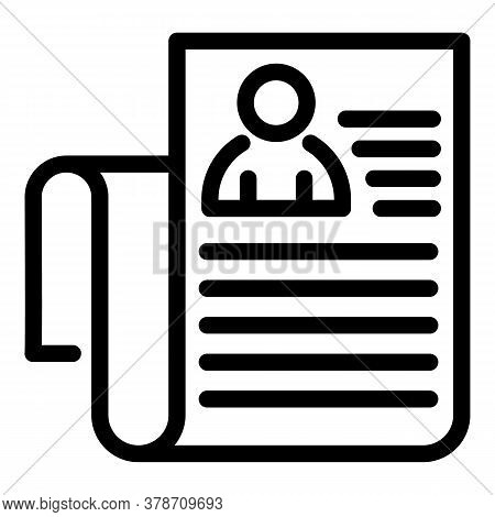 Personal Data Sheet Icon. Outline Personal Data Sheet Vector Icon For Web Design Isolated On White B
