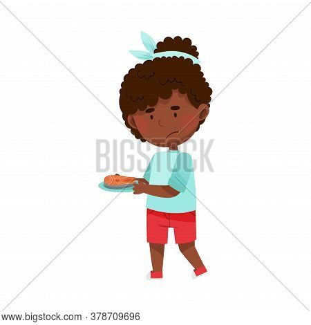 Unhappy African American Girl Character Showing Dislike Towards Salmon Steak Vector Illustration