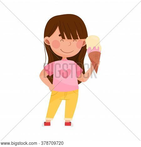 Smiling Girl Character Showing Like Towards Ice Cream Vector Illustration