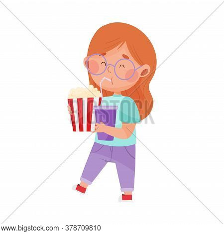 Little Girl Character Showing Like Towards Popcorn And Soda Drink Vector Illustration