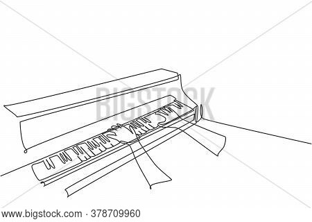 One Continuous Line Drawing Of Young Happy Male Pianist Playing Classic Grand Piano From Side View.