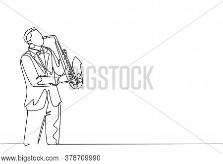 Single Continuous Line Drawing Of Young Happy Male Saxophonist With Hat Performing To Play Saxophone