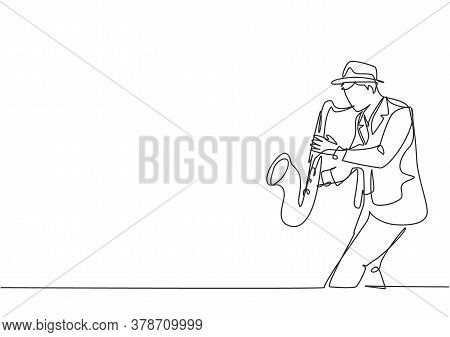 One Continuous Line Drawing Of Young Happy Male Saxophonist With Hat Performing To Play Saxophone On