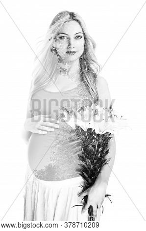 Young Pregnant Woman With Flowers On White Background, Double Multiple Exposure Effect,combined Imag