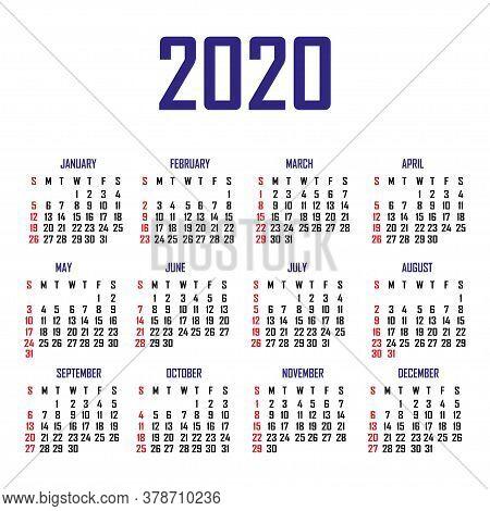 Calendar 2020. The Week Begins On Sunday. Simple Calendar Template. Portrait Of Vertical Orientation