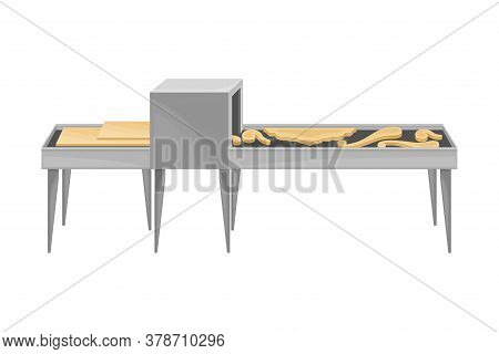Wooden Furniture Production With Carving Process Vector Illustration