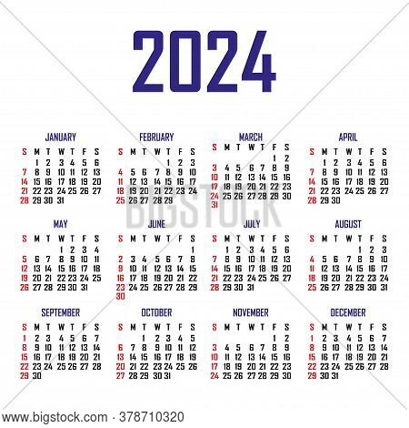 Calendar 2024. The Week Begins On Sunday. Simple Calendar Template. Portrait Of Vertical Orientation