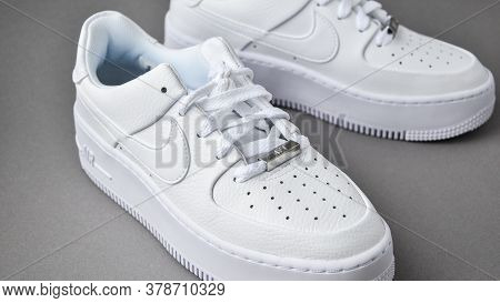 Zhytomyr, Ukraine - June 1, 2020: Nike Air Force 1 Sage White Sneakers Product Shot On Gray Backgrou