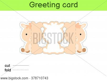 Cute Alpaca Fold-a-long Greeting Card Template. Great For Birthdays, Baby Showers, Themed Parties. P