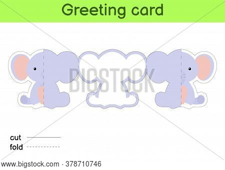 Cute Elephant Fold-a-long Greeting Card Template. Great For Birthdays, Baby Showers, Themed Parties.