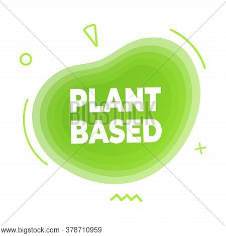 Plant Based Vegan Diet Icon Sign With Modern Liquid Abstract Elements Graphic Gradient Flat Style De