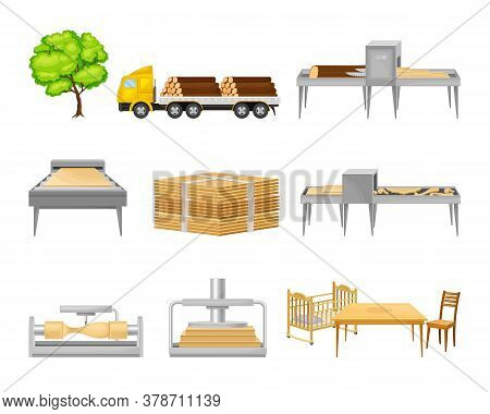 Wooden Furniture Production From Tree To Carving And Assembling Furniture Vector Set
