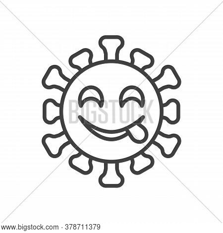 Virus Face Savoring Food Line Icon. Linear Style Sign For Mobile Concept And Web Design. Coronavirus