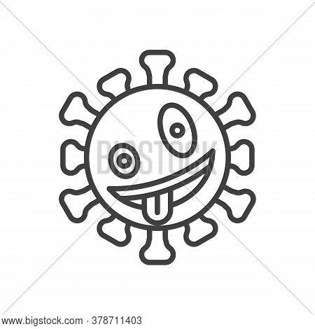 Virus Zany Face Emoji Line Icon. Linear Style Sign For Mobile Concept And Web Design. Crazy Coronavi