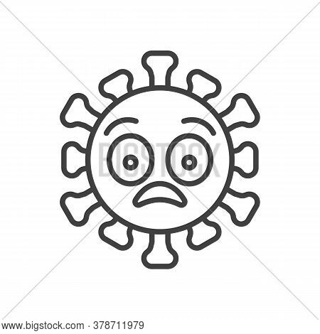 Virus Flushed Face Line Icon. Linear Style Sign For Mobile Concept And Web Design. Shocked Coronavir