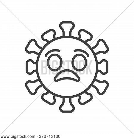 Anguished Virus Face Line Icon. Linear Style Sign For Mobile Concept And Web Design. Shocked Coronav