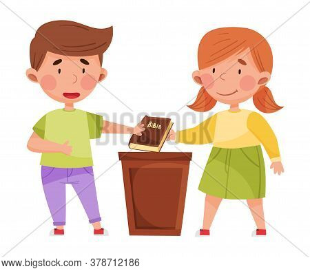 Cute Boy And Girl Characters Giving Oath With Bible Vector Illustration