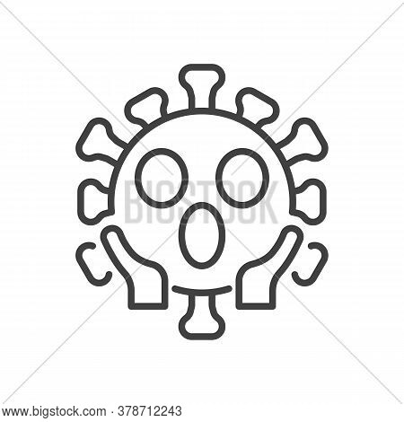 Virus Face Screaming In Fear Line Icon. Linear Style Sign For Mobile Concept And Web Design. Confuse