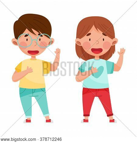 Cute Boy And Girl Characters Giving Oath Vector Illustration