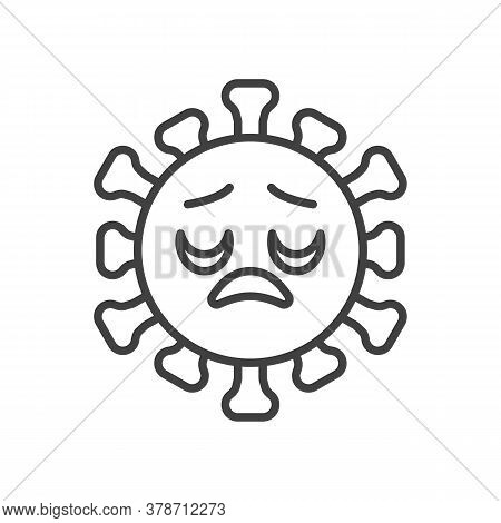 Virus Disappointed Face Line Icon. Linear Style Sign For Mobile Concept And Web Design. Displeased C