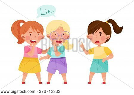 Little Girl Telling Lie To Her Agemate Vector Illustration