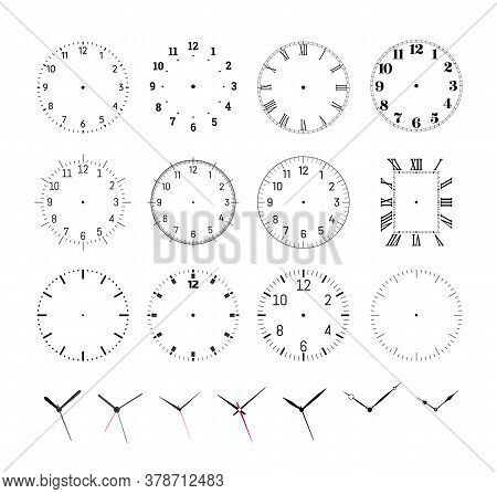 Set Of Round Clock Faces. Template For Wall Clock And Wrist Watch Dials With Arabic And Roman Numera