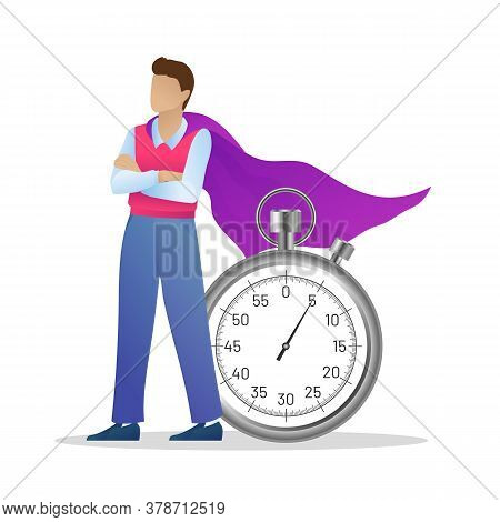Successful Businessman In Purple Cloak With Stopwatch. Superhero Man Standing With Crossed Arms. Tim