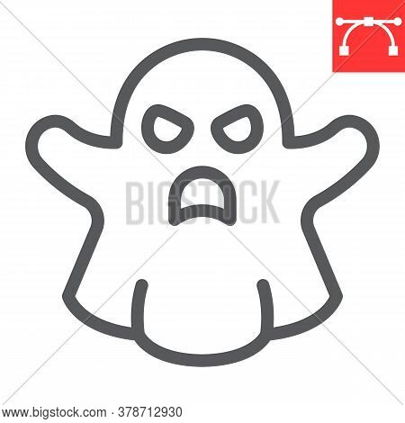 Ghost Line Icon, Halloween And Scary, Ghost Sign Vector Graphics, Editable Stroke Linear Icon, Eps 1