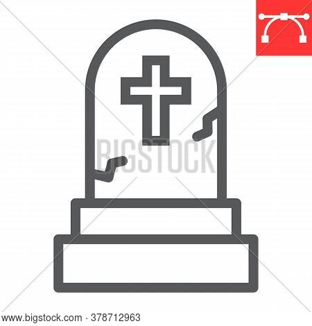 Gravestone Line Icon, Halloween And Scary, Tombstone Sign Vector Graphics, Editable Stroke Linear Ic
