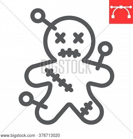 Voodoo Doll Line Icon, Halloween And Scary, Voodoo Doll Sign Vector Graphics, Editable Stroke Linear