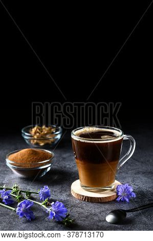 Alternative To Coffee. Healthy Drink Chicory. Chicory Coffee In A Glass Cup On A Dark Background. Co