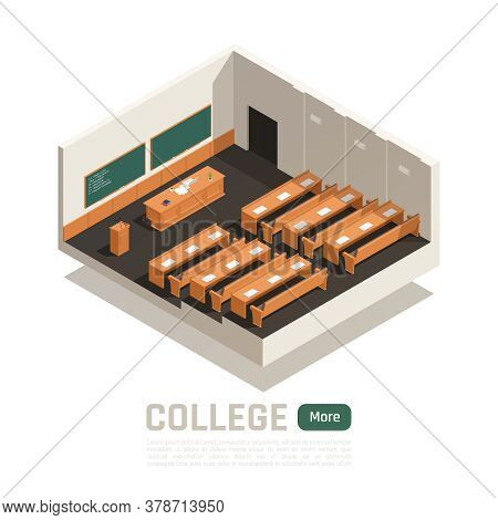 Empty College Lecture Hall With Wooden Desks Table And Two Green Boards 3d Isometric Vector Illustra