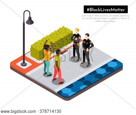 Black Lives Matter Movement Racial Injustice Street Protesters Confront Police Isometric Background
