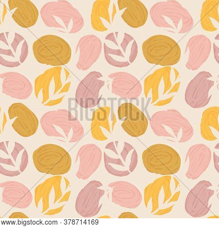Abstract Painted Stones And Leaves Seamless Vector Pattern. Colorful Painted Stones  In Pink And Yel