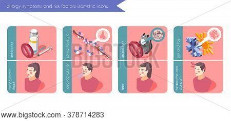Allergy Symptoms Banners Set With Risk Factors Symbols Isometric Isolated Vector Illustration