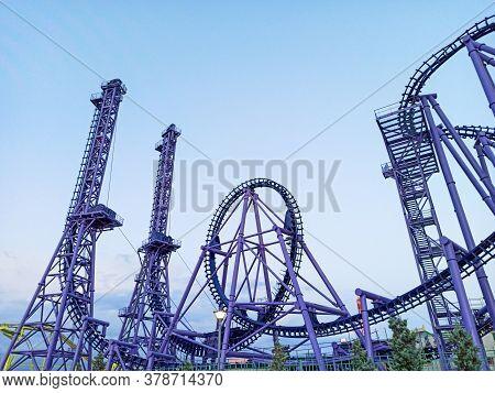 Sochi, Russia, Summer 2020. Roller Coaster In Sochi Park. Quarantine Coronavirus. No People. Recreat