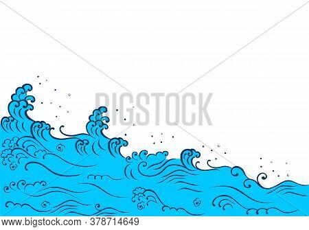 Japanese Style Wave And Copyspace With White Background. Tsunami Wave.