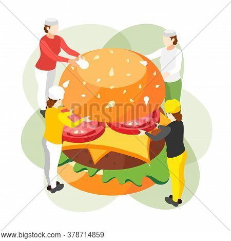Burger House Isometric Composition With Group Of Small Human Characters Holding Ingredients Of Fast