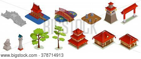 Asian Buildings Architecture Isometric Set With Isolated Icons And Images Of Traditional Oriental Bu